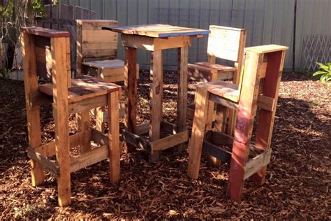 Pallet Wood Table And 4 Chairs Set