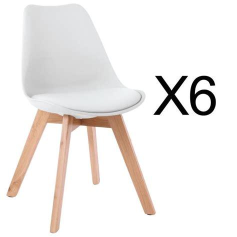 chaises lot de 6 lot de 6 chaises style scandinave catherina blanc achat vente chaise blanc cdiscount