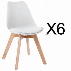 Lot De 6 Chaises Style Scandinave Catherina Blanc Achat