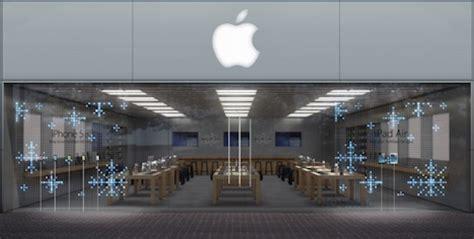 apple dekoriert store schaufenster fuer die weihnachtszeit