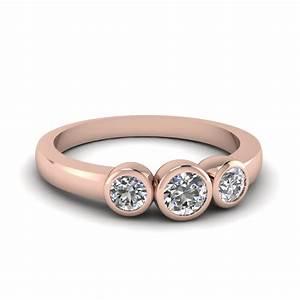 bezel 3 stone diamond engagement ring in 14k rose gold With bezel wedding ring