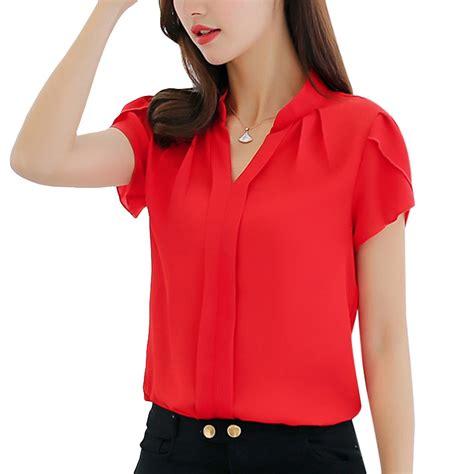 size women office short sleeve chiffon blouse
