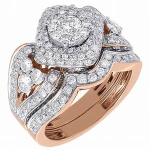 diamond bridal wedding ring 2 piece set 14k rose gold With two piece wedding ring set