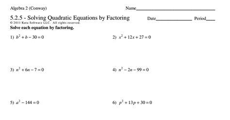 solving quadratic equations by factoring worksheets