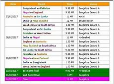 T20 World Cup 2017 Schedule & Time Table Blind World