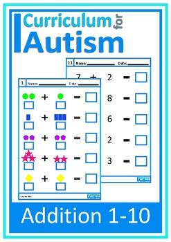 addition   visual worksheets autism special education tpt