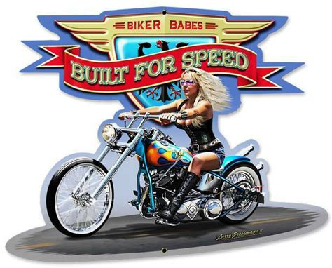 Motorcycle Biker Babe Chopper Metal Sign Man Cave Garage