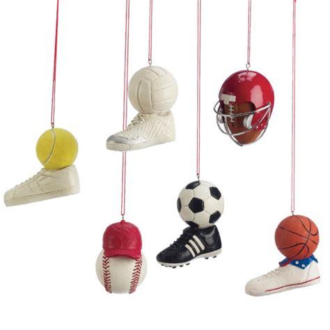 sports equipment christmas ornament set of 6