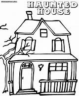Haunted Coloring Pages Colorings Building Coloringway sketch template