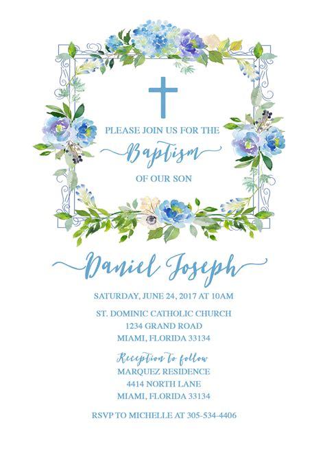 Baptism Invitation Boy Blue Christening Invitation First
