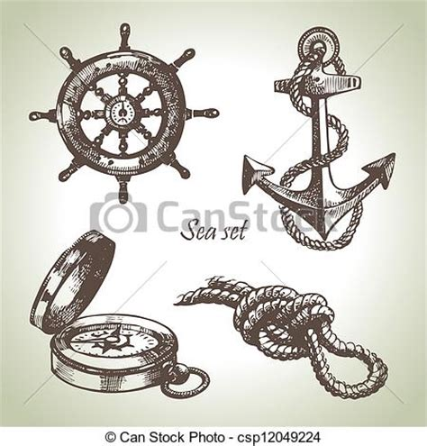 sea set  nautical design elements hand drawn illustrations