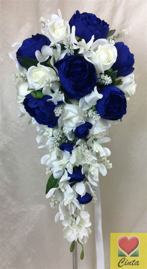 details  artificial flower dark blue peony cream