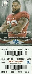 2016 alabama vs kentucky football ticket stub nick saban ...