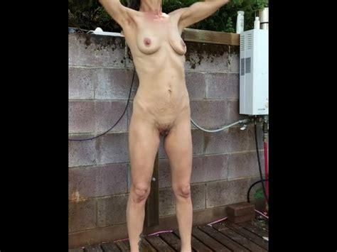 Hd Watching Cougar Wife Shower Outdoor Public Shower