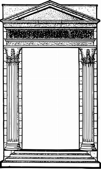 Roman Border Column Clipart Frame Transparent Temple