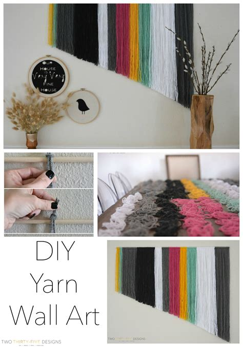 diy yarn wall art    designs