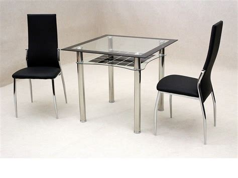 small black dining table set small square clear black glass dining table and 2 chairs