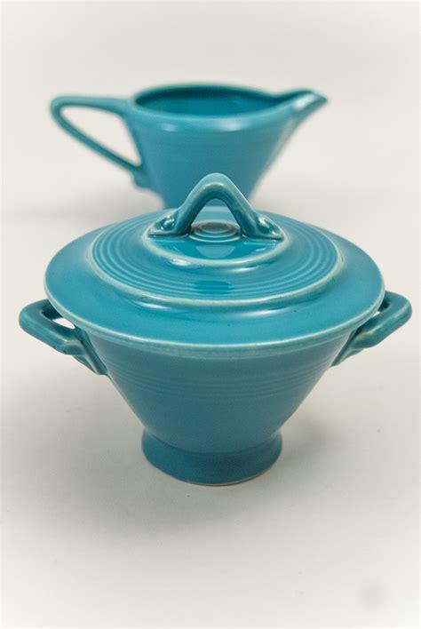 vintage harlequin pottery sugar  creamer set
