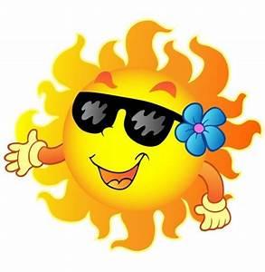 Happy sun with sunglasses and flower cartoon illustration ...
