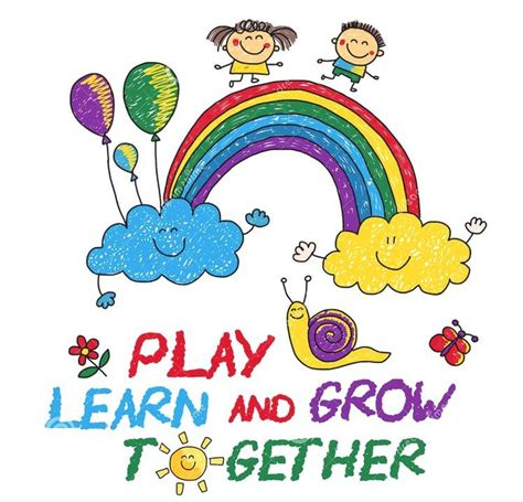 happenings worthington school 679   play learn grow together hand drawn vector image 77875000