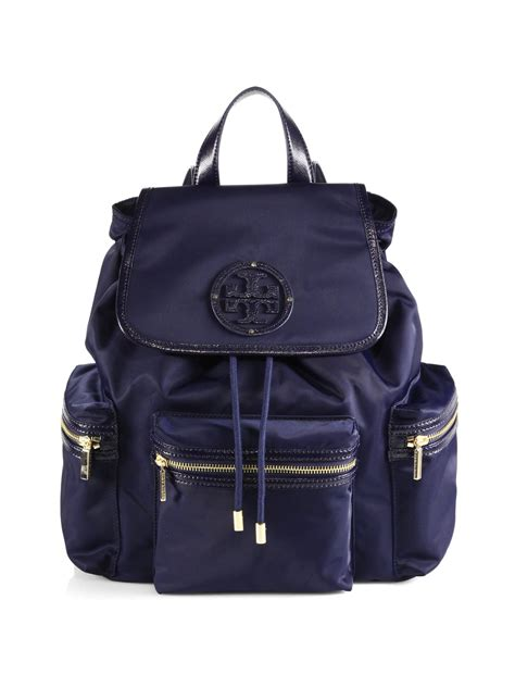 tory burch bill nylon backpack  blue violet blue lyst