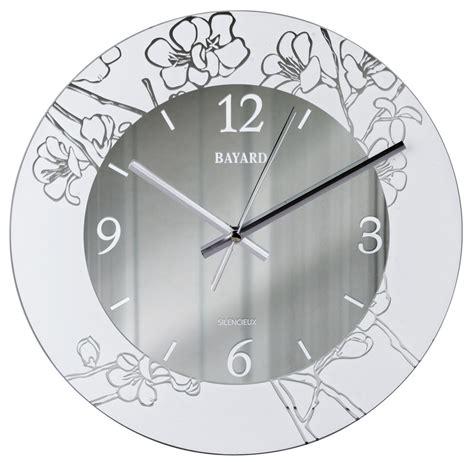 pendule de cuisine pendule murale silencieuse argentée decor floral pendule