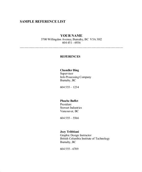 List Of References Template Reference List 8 Free Pdf Word Documents
