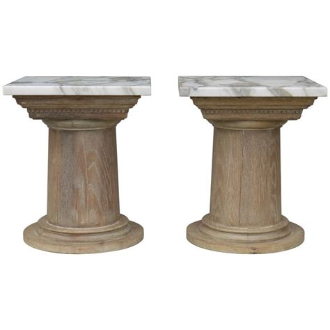 column table l pair of vintage cerused oak tapered column side tables for