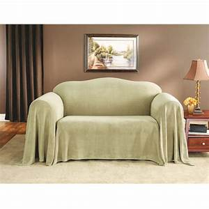 Sure fit plush sofa throw cover at brookstone buy now for Plush furniture covers