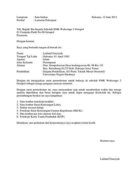 Soal Pilihan Ganda Surat Lamaran Pekerjaan - Contoh