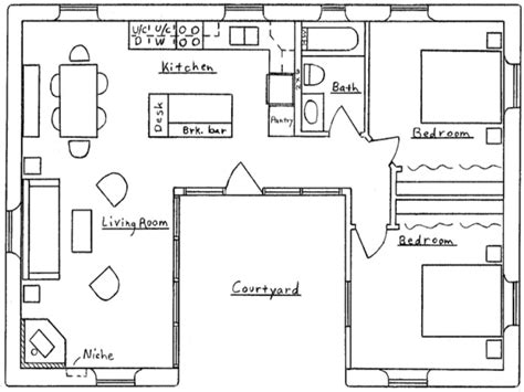 shaped house floor plan small  shaped house plans