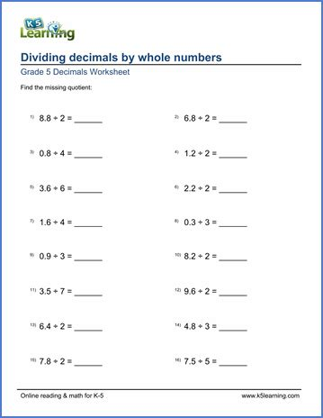 grade 5 math worksheet dividing decimals by whole numbers