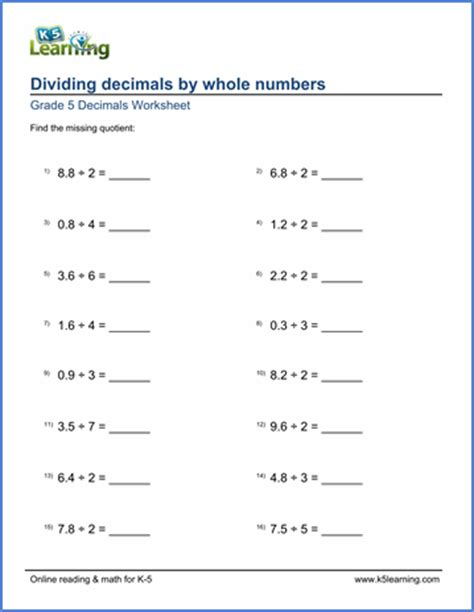 Grade 5 Math Worksheet Dividing Decimals By Whole Numbers  K5 Learning