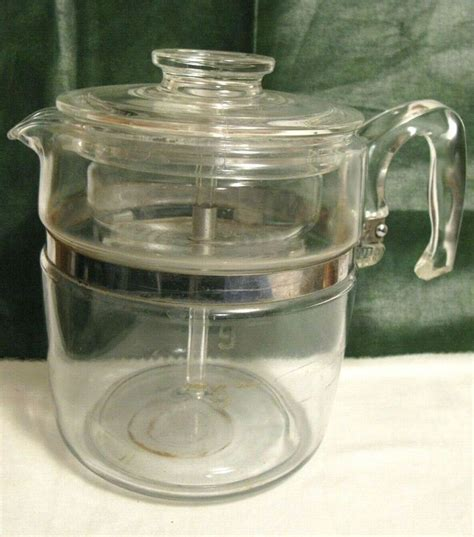 The glass coffee pot broke and i'm in need of a replacement. Vintage PYREX 9-CUP Clear Glass PERCOLATOR Stove Top COFFEE POT 7759-B~Complete | Pyrex vintage ...