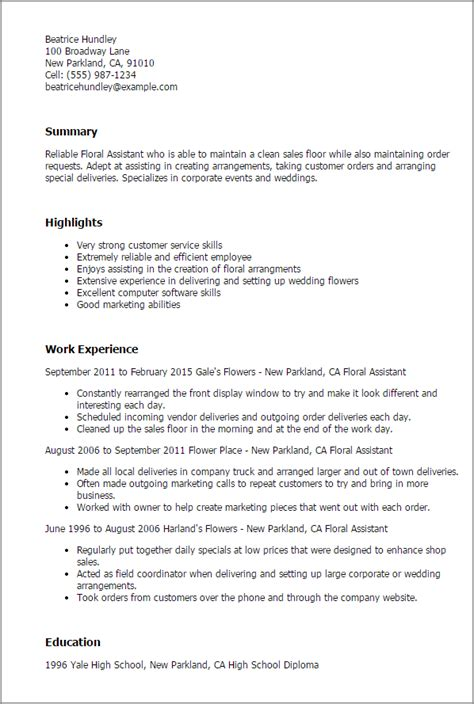 Floral Designer Description Resume by Professional Floral Assistant Templates To Showcase Your Talent Myperfectresume