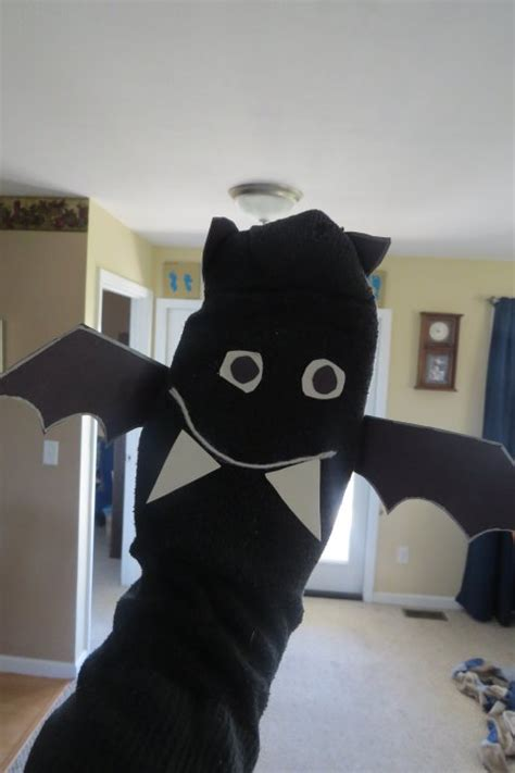 preschool halloween crafts bat sock puppet