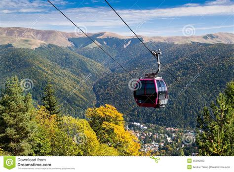 Cable Car On Mountain Landscape Stock Photo