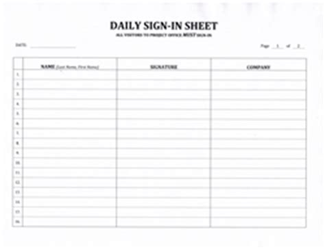 contractors daily sign  sheet