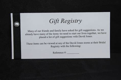Wedding Gift Registry Message Card Lines Weddi On Wedding