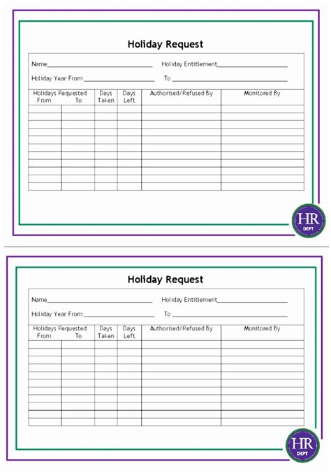 staff holiday form template uuooy templatesz