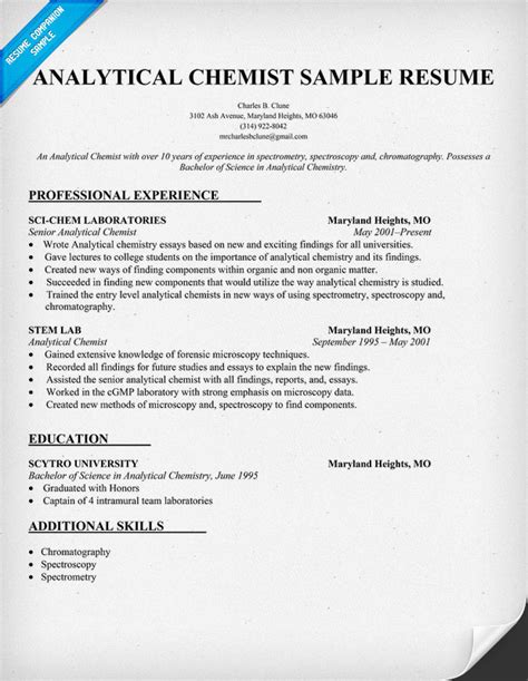 Analytical Chemist Resume Objective Exles by Analytical Chemist Cv Exles Help