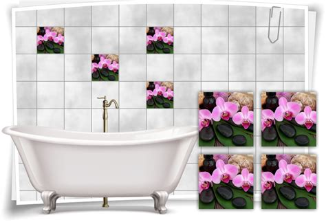 Fliesenaufkleber Orchidee by Fliesenaufkleber Fliesenbild Orchidee Zen Steine Muschel