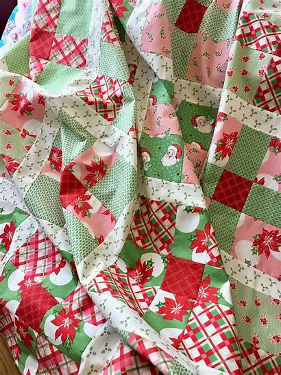 Christmas Quilt Swell Pattern Patch Uneven Happy