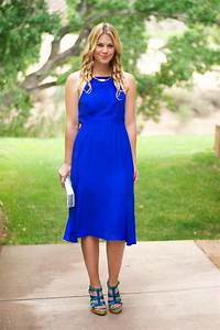 The perfect wedding guest attire! Knee length, cobalt blue ...
