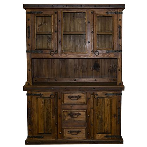 Wooden China Cabinet by 2 Piece Rustic Reclaimed China Cabinet Western Real Wood