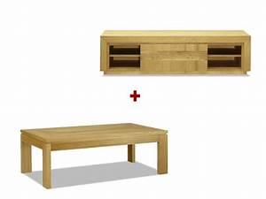 Table Basse Meuble Tv : pack meuble tv table basse symphonie ch ne huil ~ Teatrodelosmanantiales.com Idées de Décoration