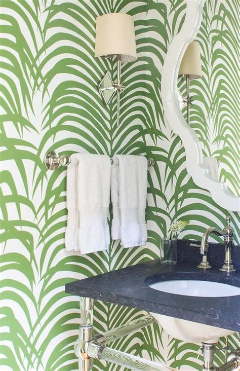green powder room  palm leaf print wallpaper