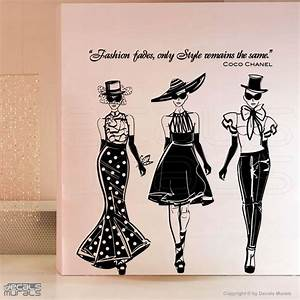 Wall decals fashion models with coco chanel quote by for Fashion wall art