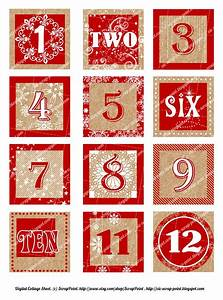 Printable DECEMBER DAILY NUMBERS red (3, 2, 1.5 or 1 inch ...
