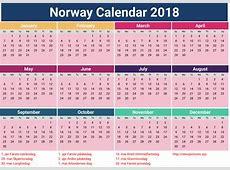 juni 2018 Kalender Norge Ferie Word PDF Utskriftsvennlig